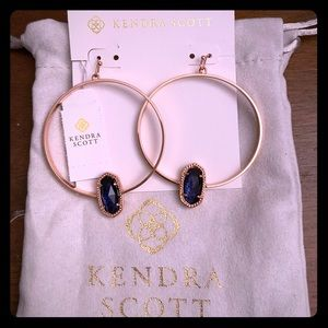 NWT Rose Gold Elora Hoops in Navy Dusted Glass